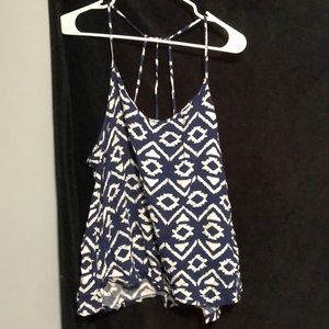 No Boundaries strappy white and blue tank top